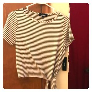 Black and white striped crop tee with side knot